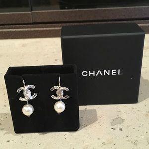 Chanel 2017 Pearl Drop Silver Crystal Earrings