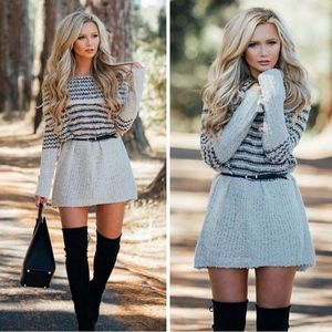 DARBY off shoulder knit dress - CHARCOAL