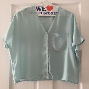 Light blue Asos Petite size 4 short sleeve blouse
