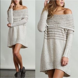 DARBY off shoulder knit dress - CREAM