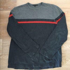 Grey Block-Stripe Banana Republic Crew Sweater