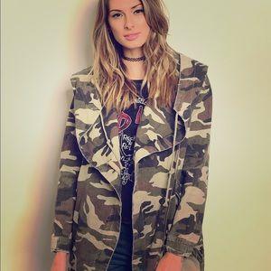 Jackets & Blazers - Camouflage Hooded Jacket
