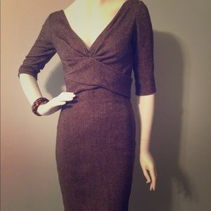 Alexander McQueen Wool Tweed fitted dress with