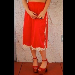 Vintage 1960s CHERRY RED Vanity Fair Half Slip - M