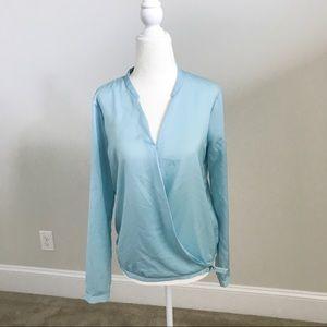 DKNY Long-Sleeve Light Blue V-Neck Blouse