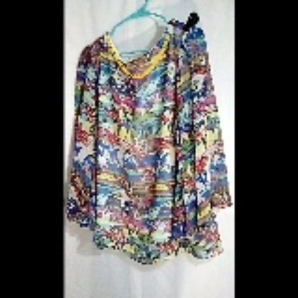 Sioni Tops - Sioni Women's Top Sz XL Abstract Floral Lined