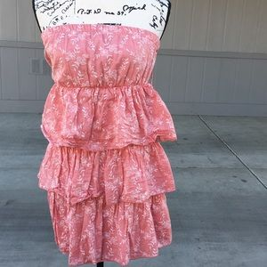 Rue 21 peach floral layered strapless dress