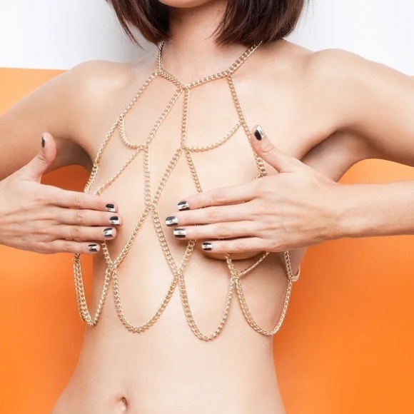 HP Cage Body Chain Bra Bralette Silver Bodychain