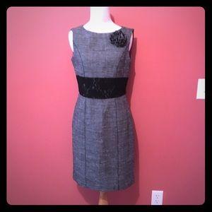 Muse Gray/Black tweed and lace sheath dress