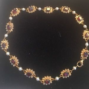 Jewelry - Garnet and seed pearls Italian design necklace
