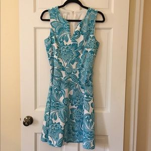 Blue paisley fit-and-flair belted dress