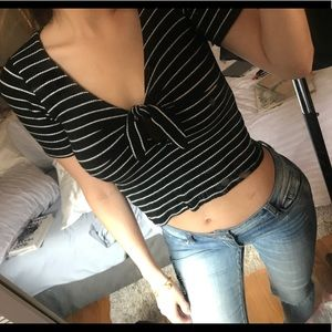 Project Social T Tie Front Striped Tee, worn once!