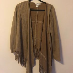 Tan suede cover up with fringe accents