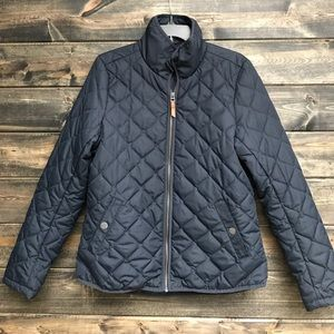 Navy Quilted H&M Jacket/Grey/Copper/leather detail