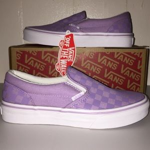 5940a0e1f6f Vans Shoes - NWT Vans Kids Classic Slip-On Tonal Check Lavender