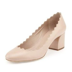 Chloe scalloped leather light pink pumps