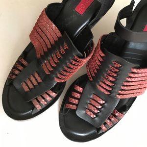 Topshop black and red python wedge heel sandals