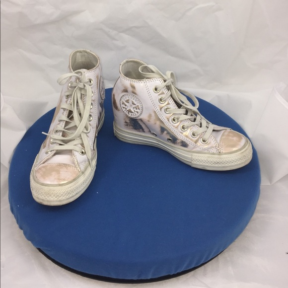 2b3eeb3ed099 Converse Shoes - White Gold Leather Converse Wedge Sneakers Size 6
