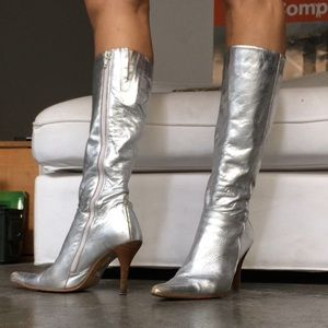 Zara space silver leather disco skinny boots 9.5