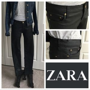 Zara canvas coated jeans