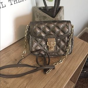 Quilted Pewter Crossbody with Gold Detail