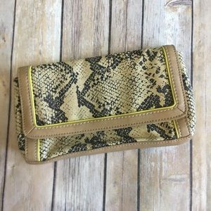 LOFT | Snake Print Canvas Clutch Bag Purse