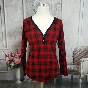 Chaps Black Red Plaid Long Sleeve Blouse Size XL