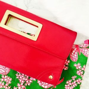 Pink Lilly Pulitzer Leather Clutch with Dust Bag