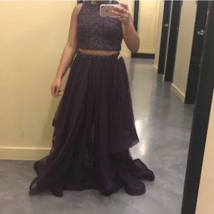Purple 2 piece prom dress