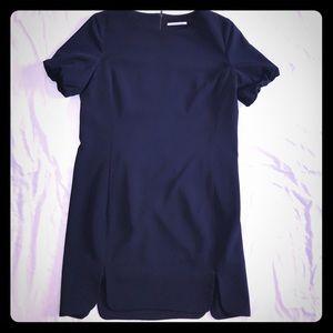 NWT Tahari Navy Blue Scalloped Cap Sleeve Dress