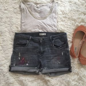 Zara woman grey paint splatter fringe shorts 10