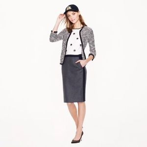 No. 2 Pencil Skirt in tipped double-serge wool