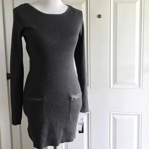 AGB ribbed tunic sweater with zipper pockets