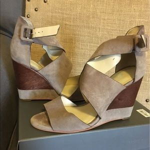 Vince Camuto suede lace up wedge