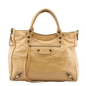 Balenciaga Velo Beige Leather Tote  (136041)