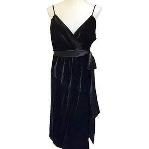 ABS Black Velvet Dress w/Spaghetti Straps and Sash