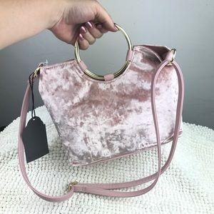 NWT pink velvet purse w/gold circle handles+strap