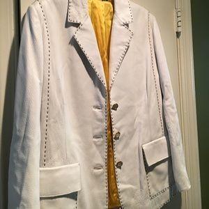 St. John white Leather Jacket!