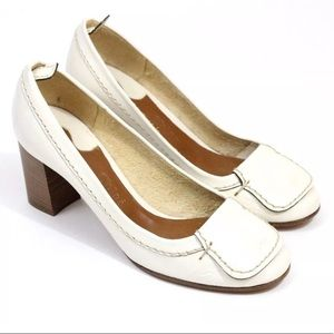 Chloe 39 white cream leather stacked pumps chunky