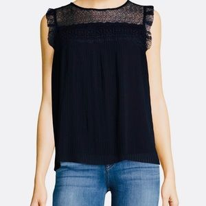 NWT Nanette Lepore Dark Navy lace pleated top