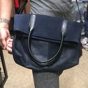 J.Crew Navy Blue Leather Suede cross body Tote