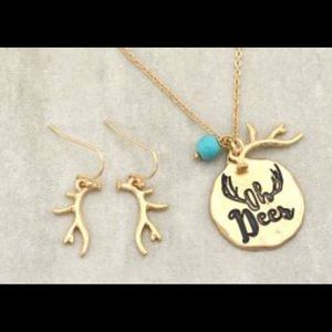 """NWT """"Oh Deer"""" necklace and earring set"""