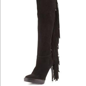Burberry Caitlin fringe knee high boots Sz 38