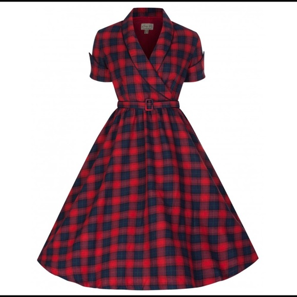 lindybop Dresses & Skirts - Lindybop Perfectly Plaid Red & Blue Swing Dress