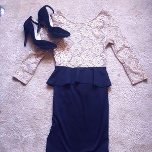 Peplum Long Sleeve Holiday Dress