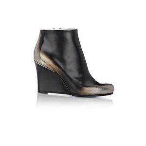 NIB Jil Sander Black & Metallic Wedge Ankle Boots