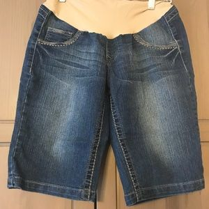 Motherhood Maternity Denim Bermuda Shorts - medium