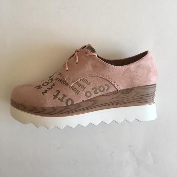52f884f38b9 Pink Print Lace Up Platform Wedge Shoes. Boutique. Pazzle