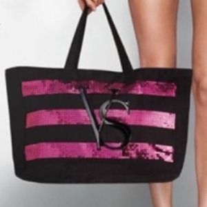 🆕 VS sequined striped tote bag