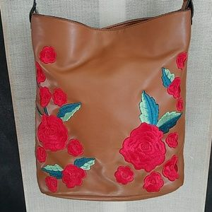 French Connection Embroidered Rose Bag